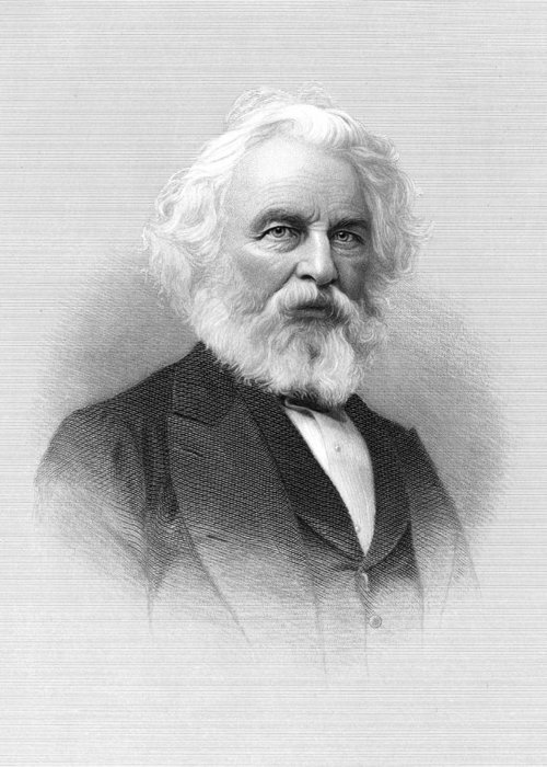B1019 Greeting Card featuring the painting Henry Wadsworth Longfellow (1807-1882) by H.b. Hall And Sons