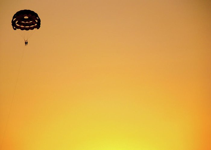 Parachuting Greeting Card featuring the photograph High Life, Again by Jokin B.