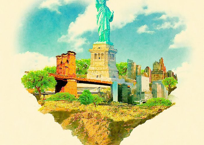 Usa Greeting Card featuring the digital art High Resolution Watercolor Illustration by Trentemoller