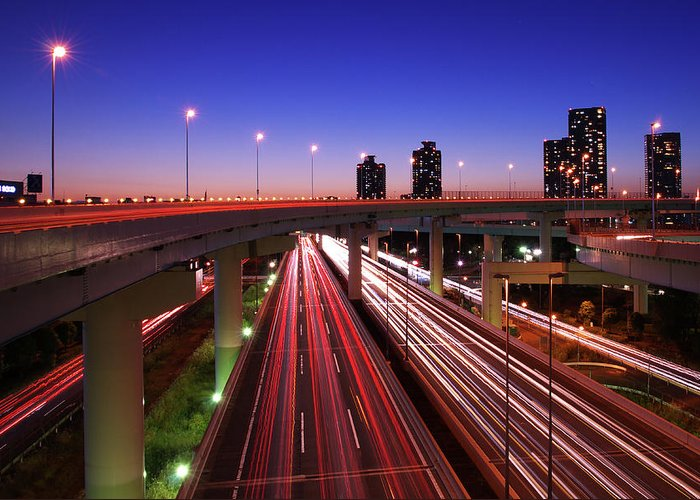 Two Lane Highway Greeting Card featuring the photograph Highway At Night by Takuya Igarashi