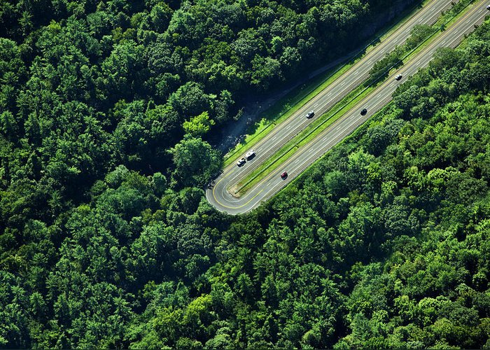 The End Greeting Card featuring the photograph Highway U-turn In Forest by Thomas Jackson