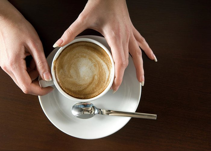 Spoon Greeting Card featuring the photograph Holding Cappuccino by 1001nights
