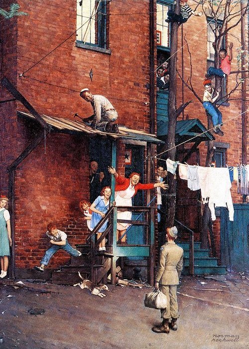 Alley Greeting Card featuring the drawing Homecoming G.i. by Norman Rockwell