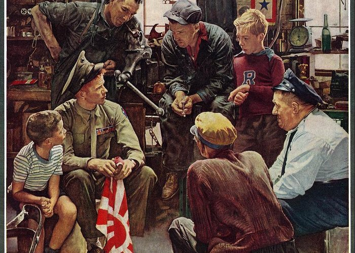 Flags Greeting Card featuring the drawing Homecoming Marine by Norman Rockwell