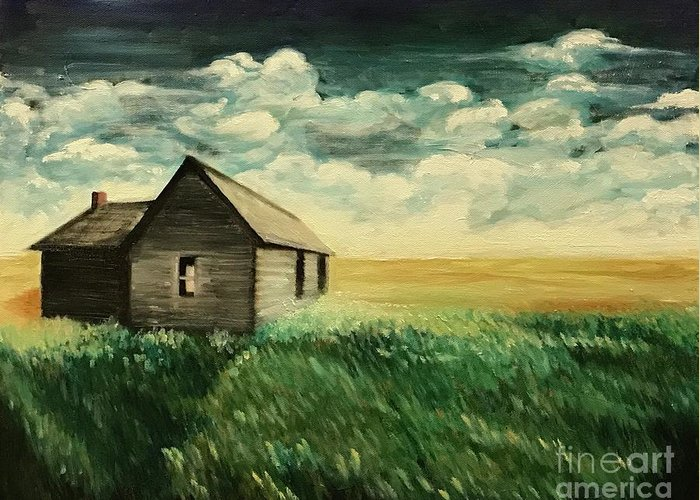 Oil Painting Greeting Card featuring the painting Homestead by Boni Arendt