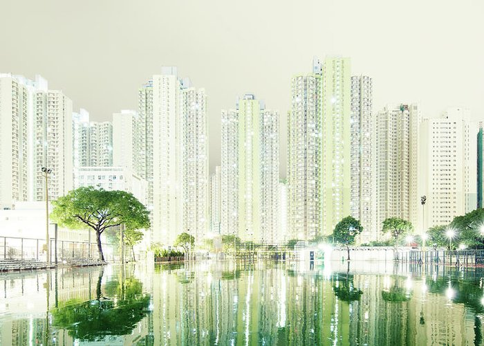 Tranquility Greeting Card featuring the photograph Hong Kong Skyline by Spreephoto.de