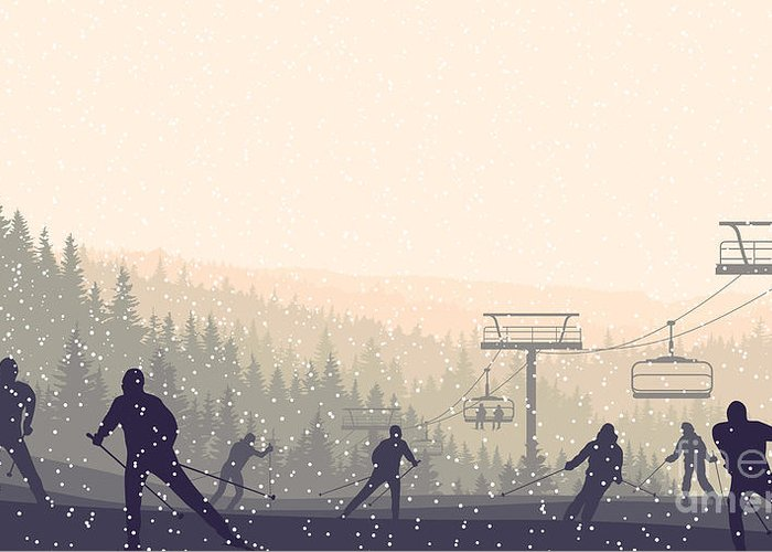 Forest Greeting Card featuring the digital art Horizontal Vector Illustration Skiers by Vertyr