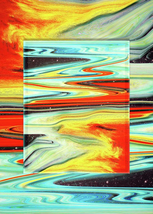 Abstract Greeting Card featuring the digital art Hot Shower at Midnight by Jack Entropy