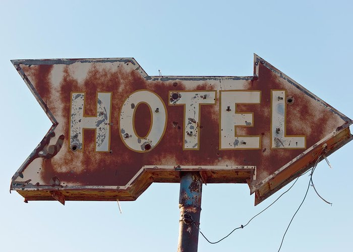 Hotel Greeting Card featuring the photograph Hotel Sign by Dhughes9