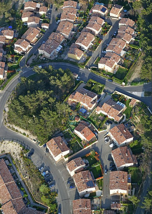Tranquility Greeting Card featuring the photograph Housing Development, Peypin, Aerial View by Sami Sarkis