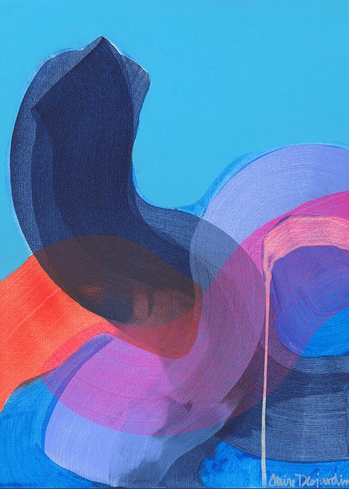 Abstract Greeting Card featuring the painting How Did It Get To Be So Late? by Claire Desjardins
