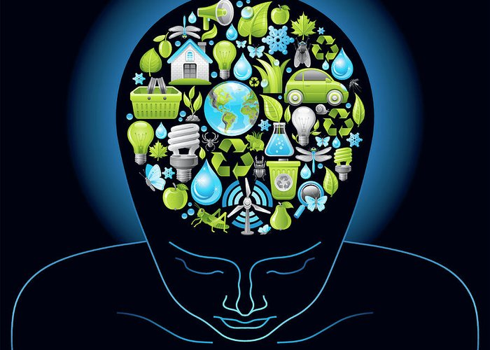 Expertise Greeting Card featuring the digital art Human Head With Ecological Symbols In by O-che