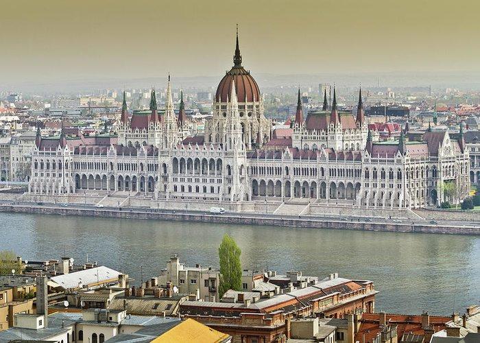 Hungarian Parliament Building Greeting Card featuring the photograph Hungarian Parliament Building by (c) Thanachai Wachiraworakam