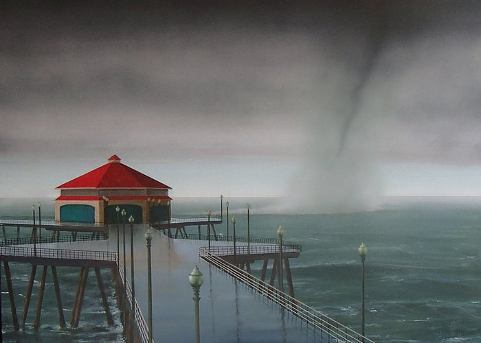 Huntington Beach Greeting Card featuring the painting Huntington Beach Pier waterspout by Philip Fleischer