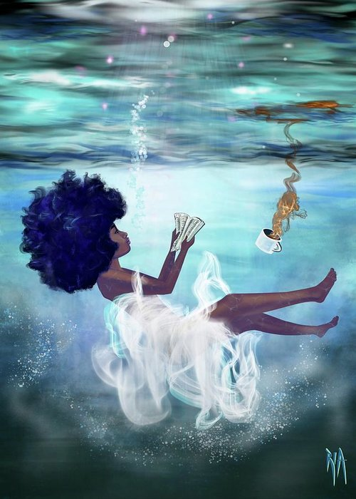 Bible Greeting Card featuring the painting I aint drowning by Artist RiA