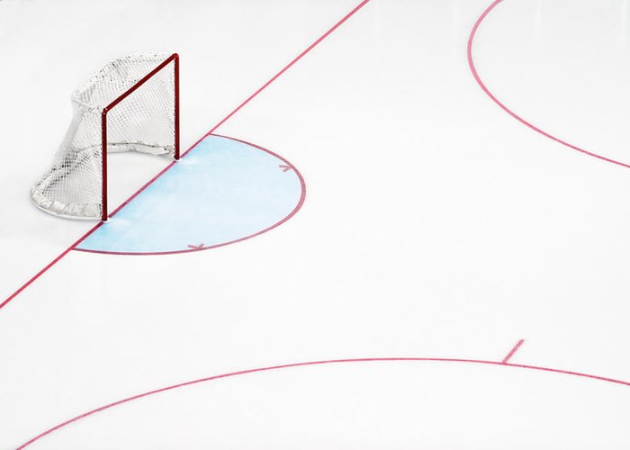 Sport Greeting Card featuring the photograph Ice Hockey Goal Net And Empty Rink by David Madison