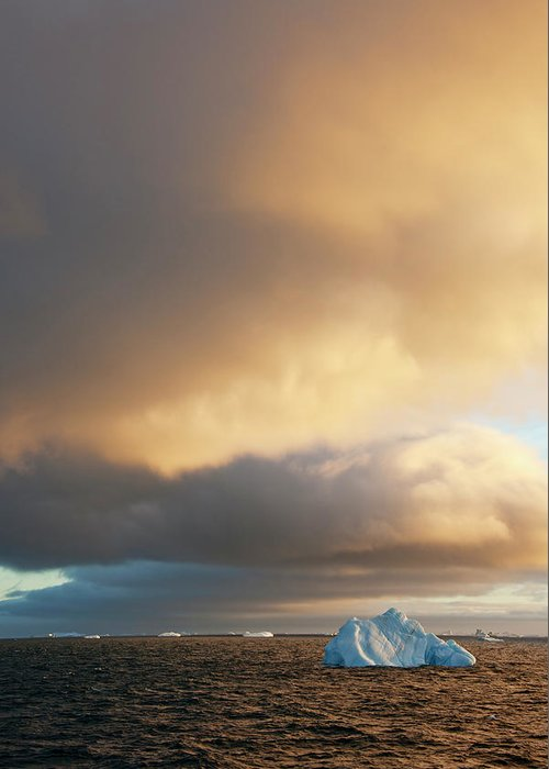 Iceberg Greeting Card featuring the photograph Icebergs At Sunrise In The Weddell Sea by Mint Images - David Schultz