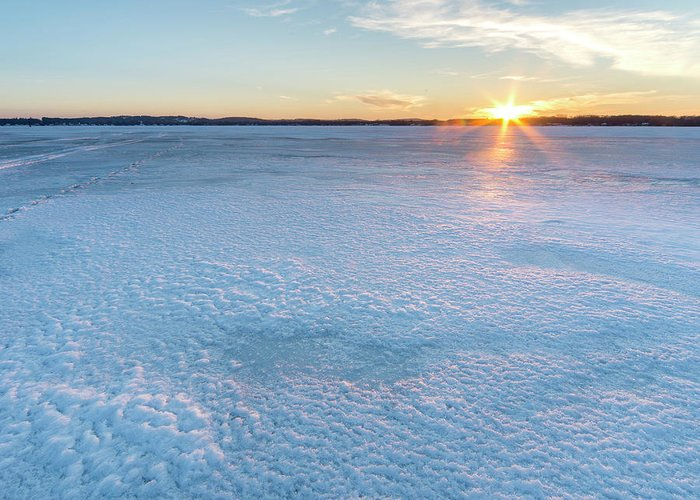 Bear Lake Greeting Card featuring the photograph Icy Sunset Square by Twenty Two North Photography