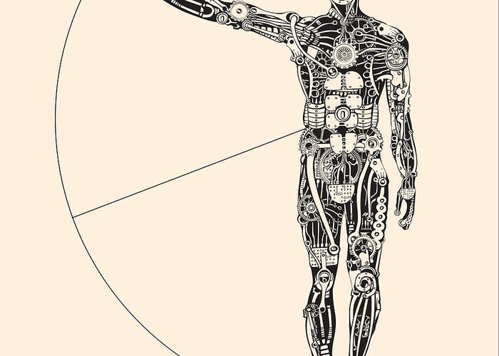 Sheet Metal Greeting Card featuring the digital art Ideal Human Proportion That Governs The by Ryger