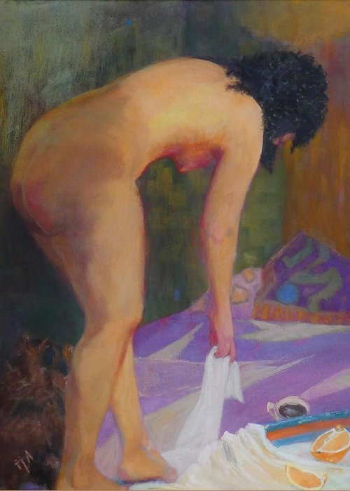 Nude Greeting Card featuring the painting If Must Be Somewhere by Irena Jablonski