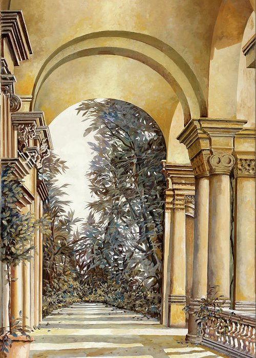 Arcade Greeting Card featuring the painting Il Bosco Dopo Le Arcate by Guido Borelli