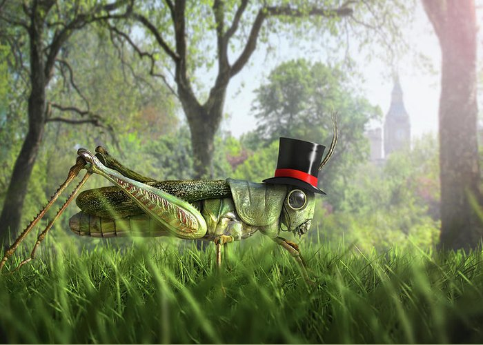 Grass Greeting Card featuring the digital art Illustration Of Cricket Wearing Monocle by Chris Clor