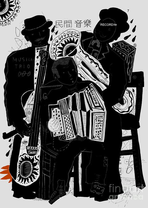 Income Greeting Card featuring the digital art Image Of Musicians Who Are Playing In by Dmitriip
