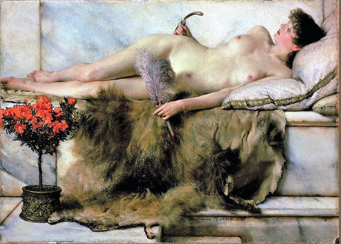 Lawrence Alma-tadema Greeting Card featuring the painting In The Tepidarium - Digital Remastered Edition by Lawrence Alma-Tadema