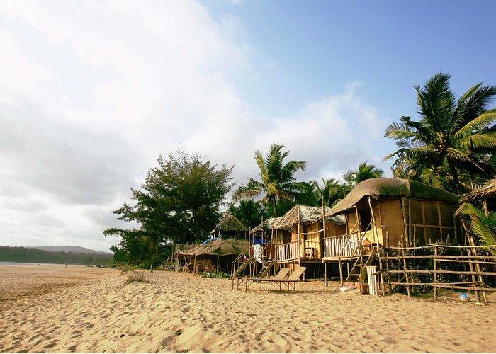 Scenics Greeting Card featuring the photograph India, Goa, Beach Huts On Agonda Beach by Sydney James