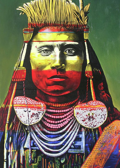 Indian Chief Greeting Card featuring the painting Indian Chief by Graeme Stevenson