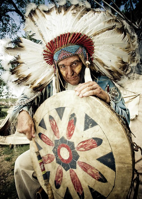 Toughness Greeting Card featuring the photograph Indian Chief by Mlenny
