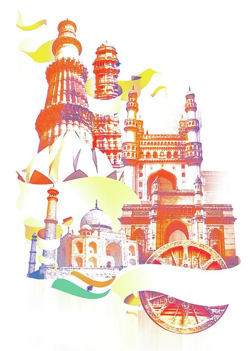 Architectural Feature Greeting Card featuring the digital art Indian Monuments Collage by Anand Purohit