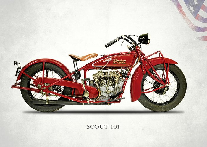 Indian Scout 101 Greeting Card featuring the photograph The Scout 101 1929 by Mark Rogan