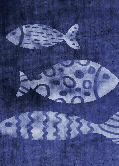 Fish Greeting Card featuring the mixed media Indigo Fish- Art by Linda Woods by Linda Woods