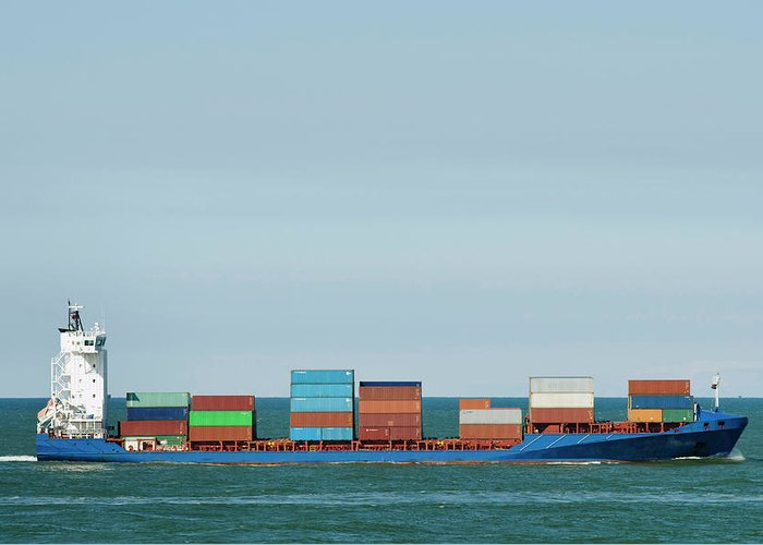 Freight Transportation Greeting Card featuring the photograph Industrial Barge Carrying Containers by Mischa Keijser