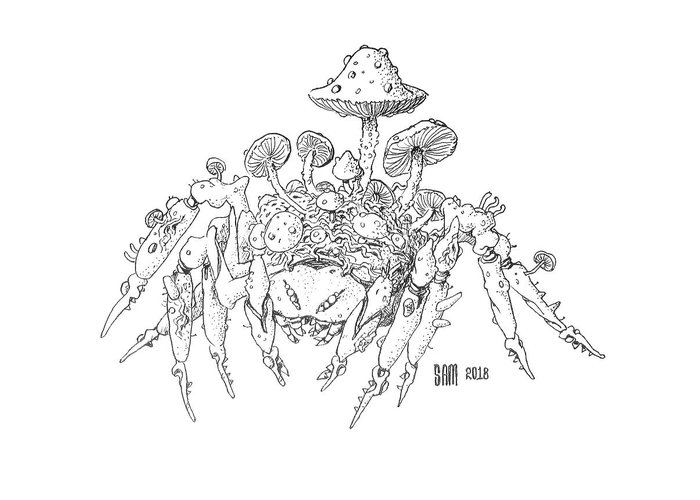 Spider Greeting Card featuring the drawing Infested Spider by Sami Matilainen