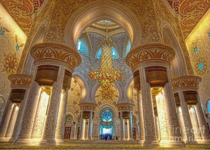 Islamic Greeting Card featuring the photograph Interior Of Shiekh Zayed Mosque by Naufal Mq