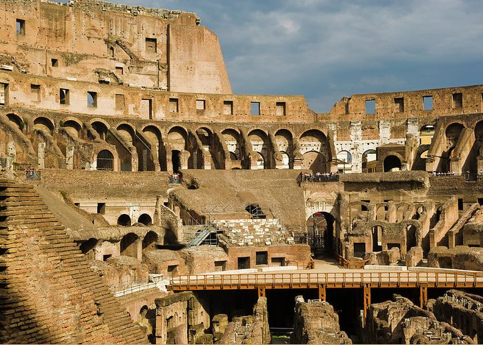 Arch Greeting Card featuring the photograph Interior Of The Colosseum, Rome, Italy by Juan Silva