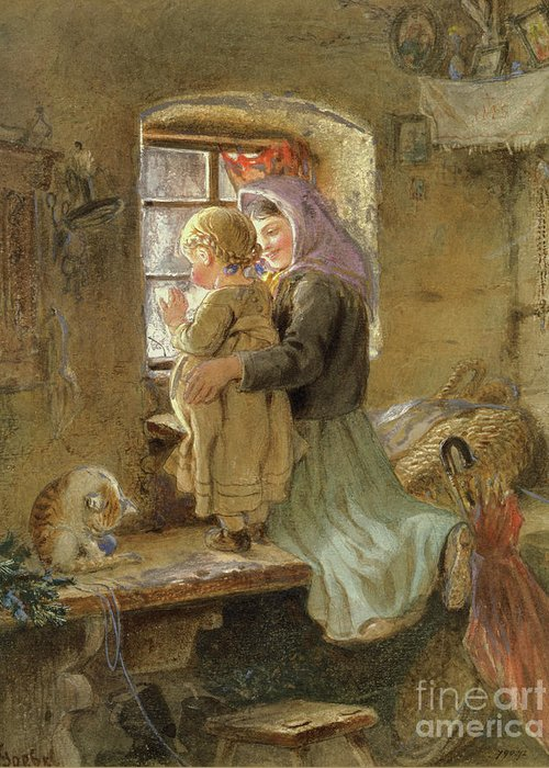 Mom Greeting Card featuring the painting Interior Peasant Girl And Child by C Goebel