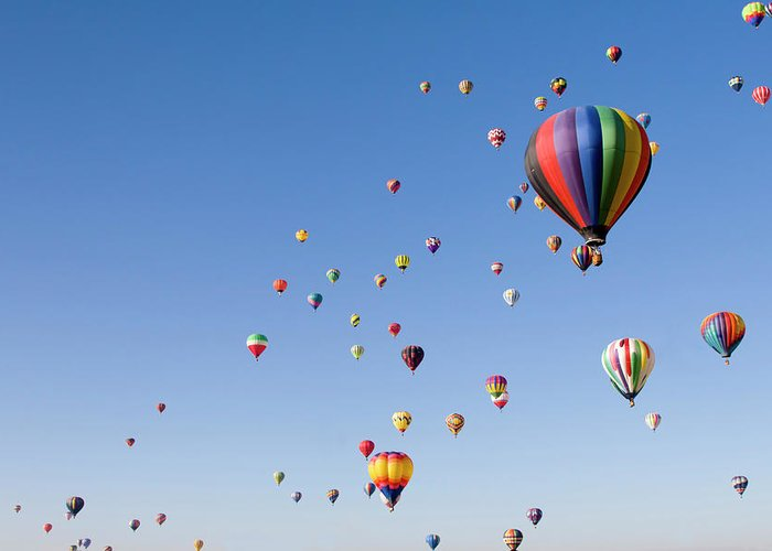 Event Greeting Card featuring the photograph International Balloon Fiesta by Prmoeller