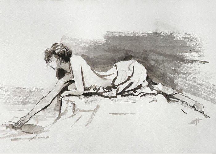 Woman Greeting Card featuring the painting Introspection by Steve Henderson