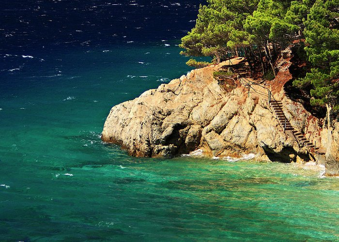 Steps Greeting Card featuring the photograph Island In The Adriatic by Tozofoto