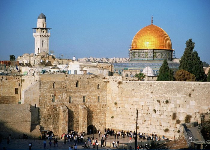 Dome Of The Rock Greeting Card featuring the photograph Israel, Jerusalem, Western Wall And The by Medioimages/photodisc