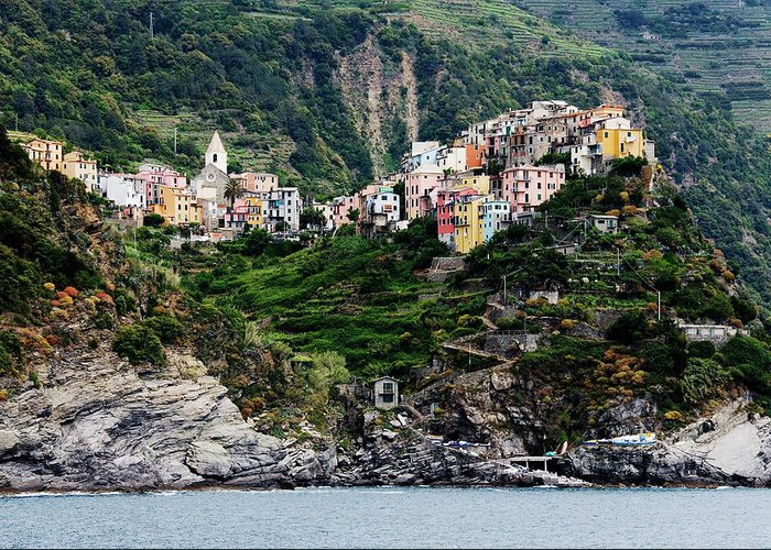 Town Greeting Card featuring the photograph Italy, Liguria, Corniglia, View From by Jeremy Woodhouse