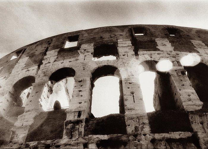 Roman Greeting Card featuring the photograph Italy, Rome, The Colosseum, Low Angle by Carolyn Bross