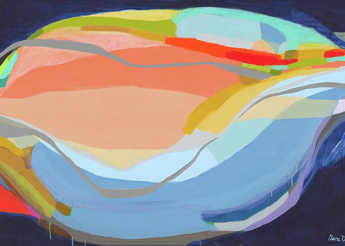 Abstract Greeting Card featuring the painting It's A New Beginning by Claire Desjardins