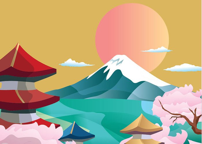 Symbol Greeting Card featuring the digital art Japan Style Buildings And Fuji Mountain by Takiwa