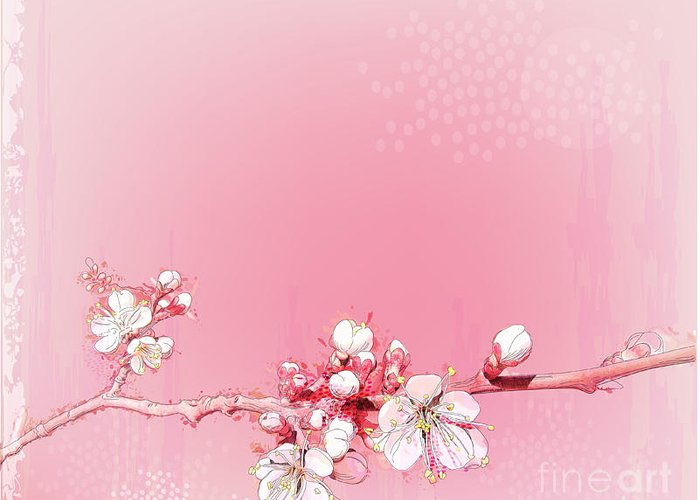 Japanese Cherry Blossom Greetings Card