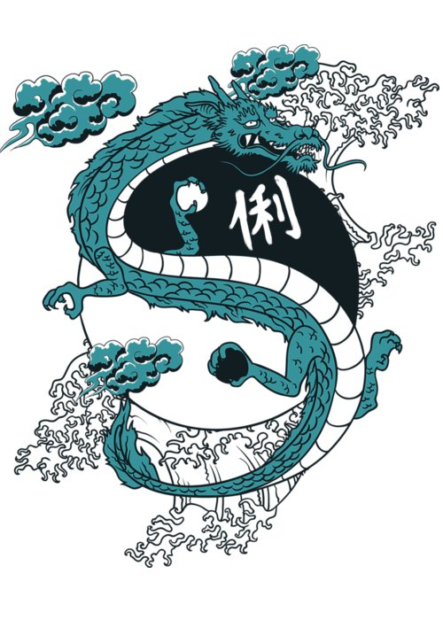 Asian Greeting Card featuring the digital art Japanese Dragon Yinyang Water Waves by Passion Loft