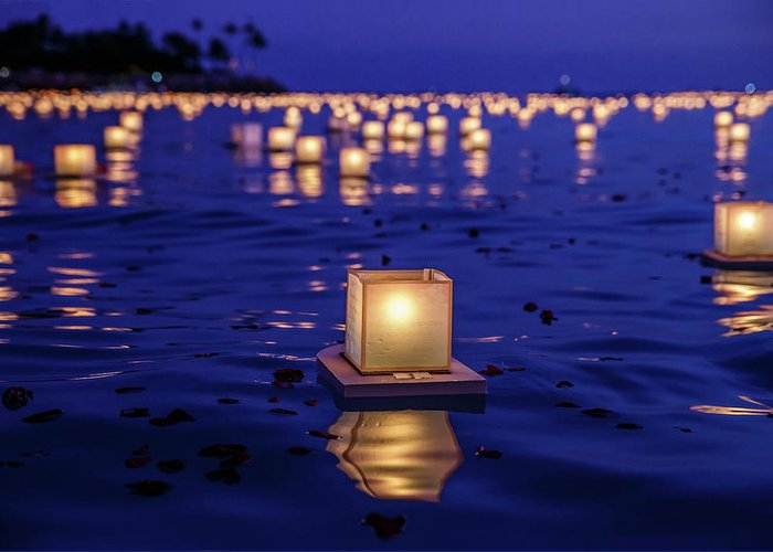 Honolulu Greeting Card featuring the photograph Japanese Floating Lanterns by Julie Thurston